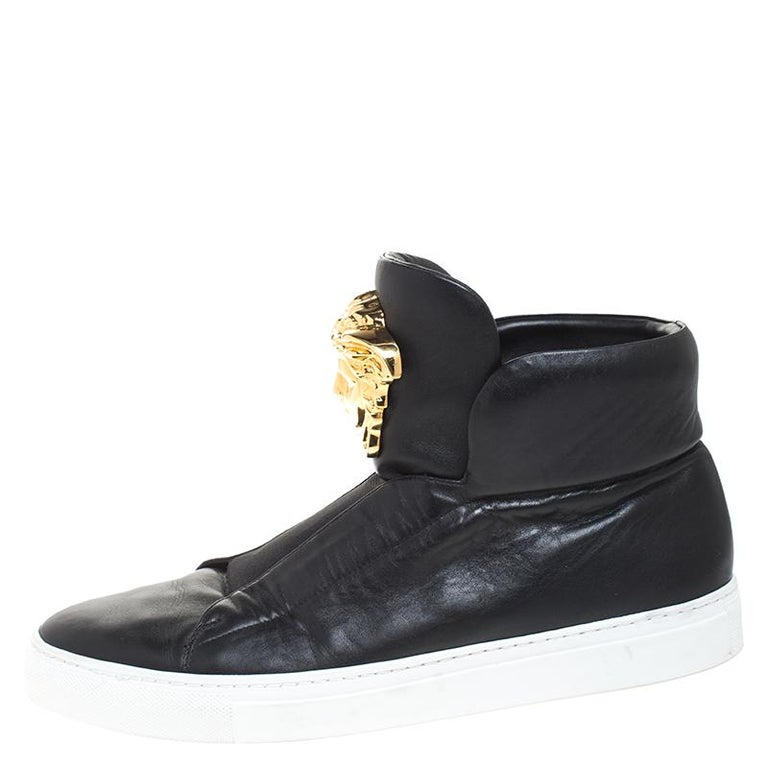 Versace Black Leather Palazzo Medusa High Top Sneakers Size 42 For Sale 1