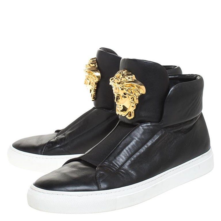 Versace Black Leather Palazzo Medusa High Top Sneakers Size 42 For Sale 2