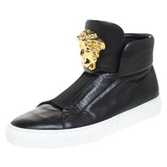 Versace Black Leather Palazzo Medusa High Top Sneakers Size 42