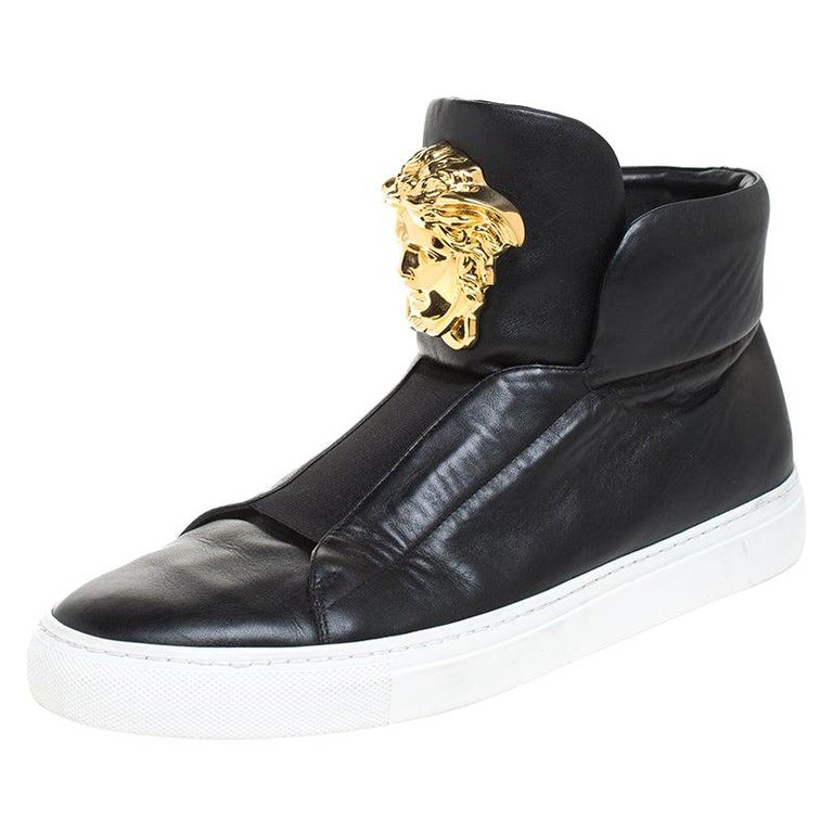 Versace Black Leather Palazzo Medusa High Top Sneakers Size 42 For Sale