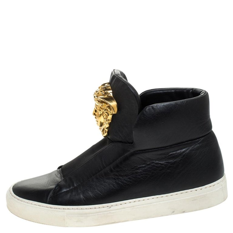 Versace Black Leather Palazzo Slip On High Top Sneakers Size 40 For Sale 1