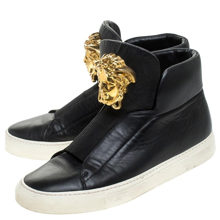 Versace Black Leather Palazzo Slip On High Top Sneakers Size 40 For Sale 2