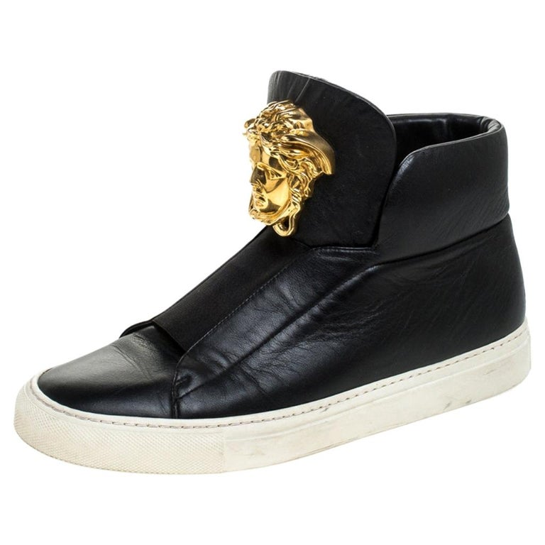Versace Black Leather Palazzo Slip On High Top Sneakers Size 40 For Sale