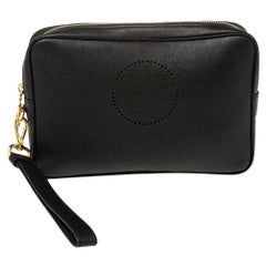 Versace Black Leather Perforated Medusa Wristlet Clutch
