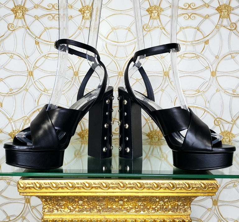 Women's VERSACE BLACK LEATHER SANDALS SHOES with GOLD MEDUSA STUDS 36.5, 37, 38, 39, 40 For Sale