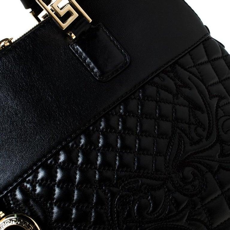 Versace Black Leather Satchel For Sale 6