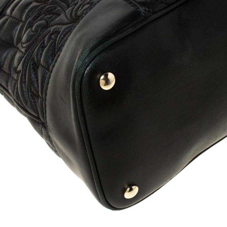 Versace Black Leather Satchel For Sale 7