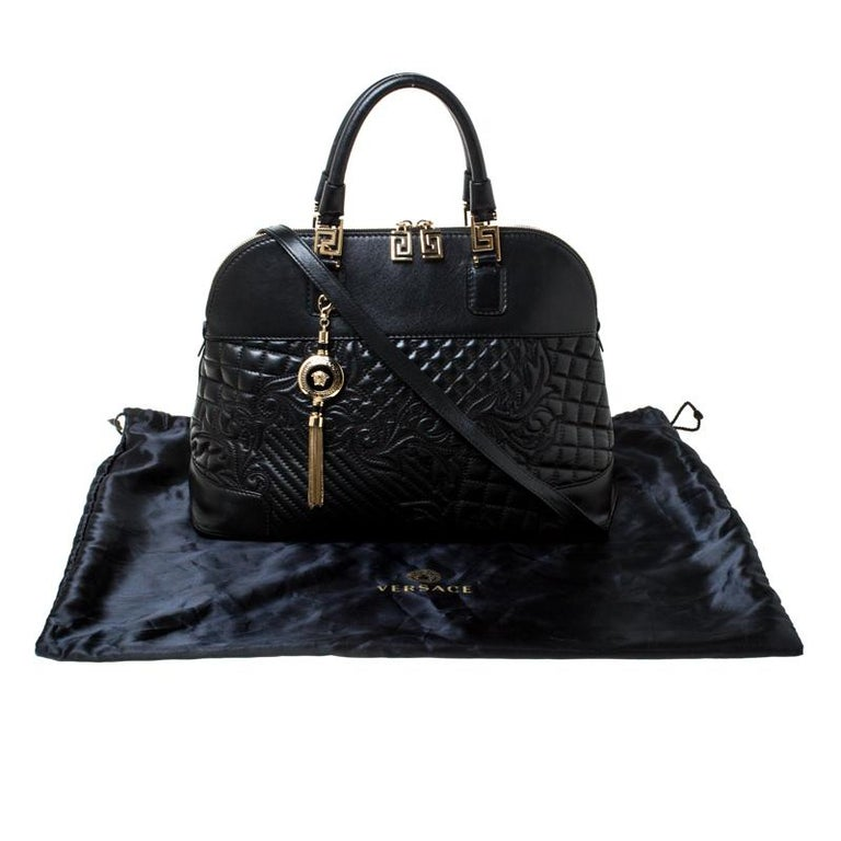 Versace Black Leather Satchel For Sale 8