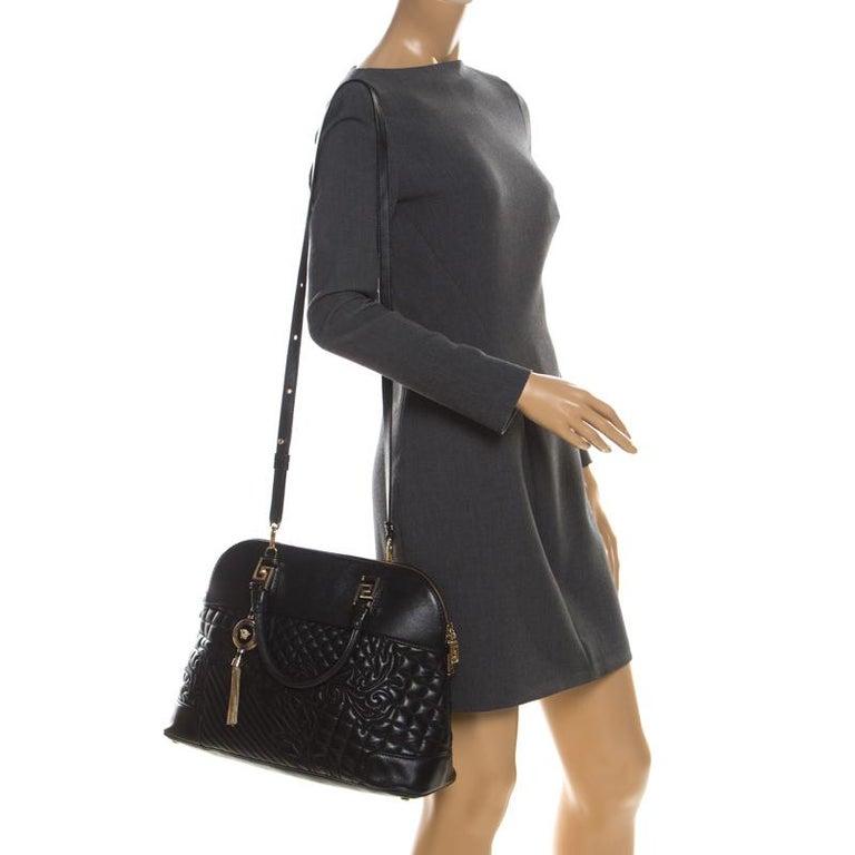 Versace Black Leather Satchel In Good Condition For Sale In Dubai, Al Qouz 2