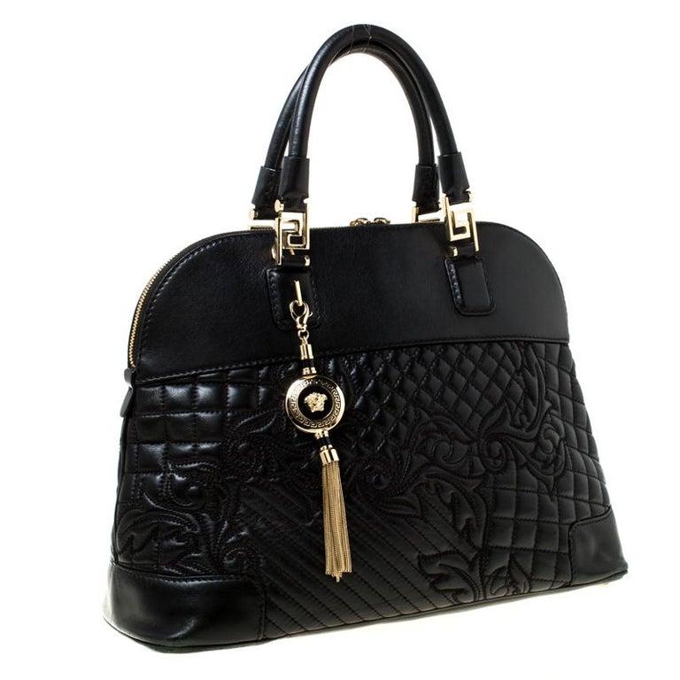 Women's Versace Black Leather Satchel For Sale