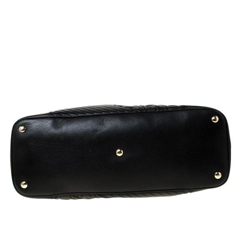 Versace Black Leather Satchel For Sale 1