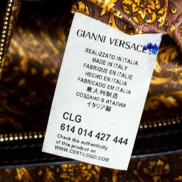 Versace Black Leather Satchel For Sale 2