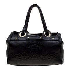 Versace Black Leather Satchel
