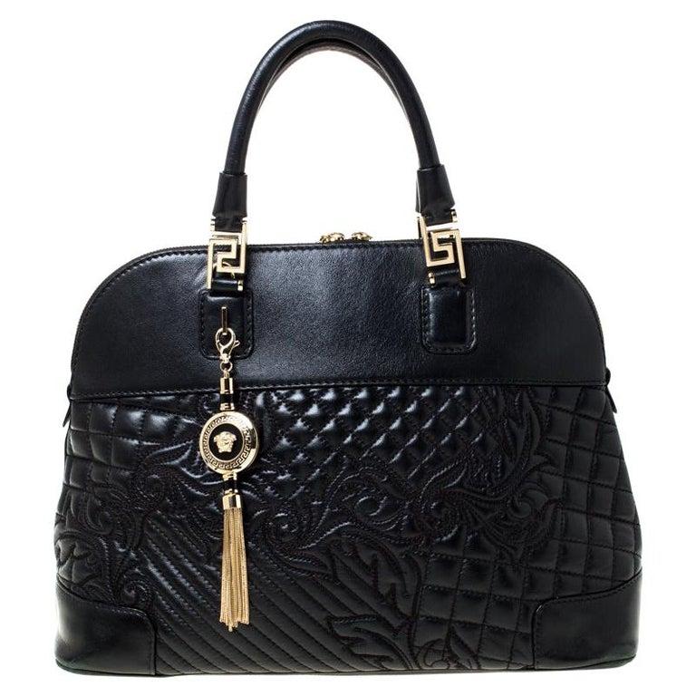 Versace Black Leather Satchel For Sale