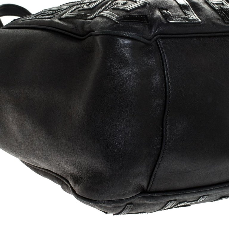 Versace Black Leather Shopper Tote For Sale 6