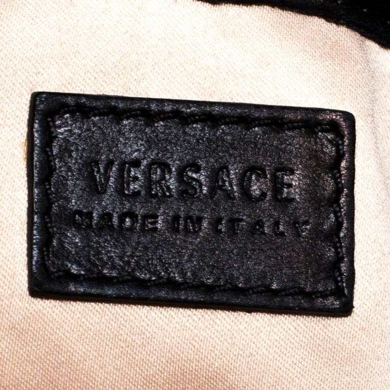 Versace Black Leather Shopper Tote For Sale 2