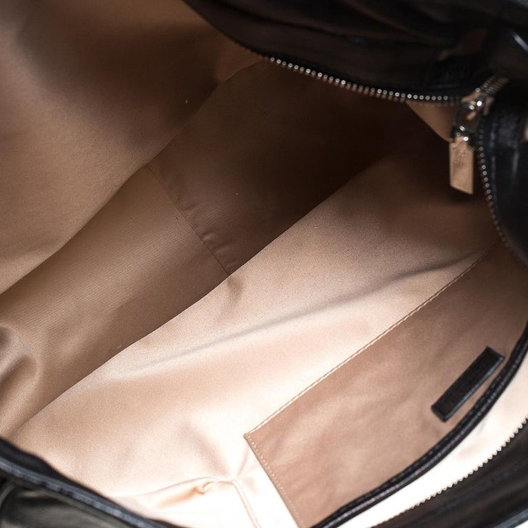 Versace Black Leather Shopper Tote For Sale 4