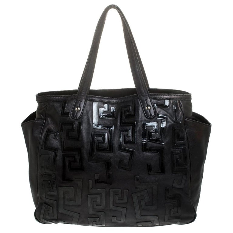 Versace Black Leather Shopper Tote For Sale