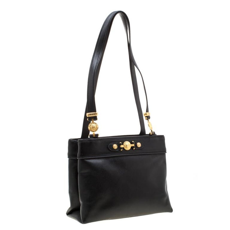 Women's Versace Black Leather Shoulder Bag For Sale