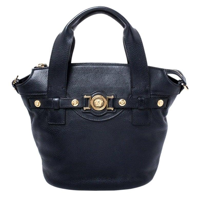 Versace Black Leather Shoulder Bag For Sale