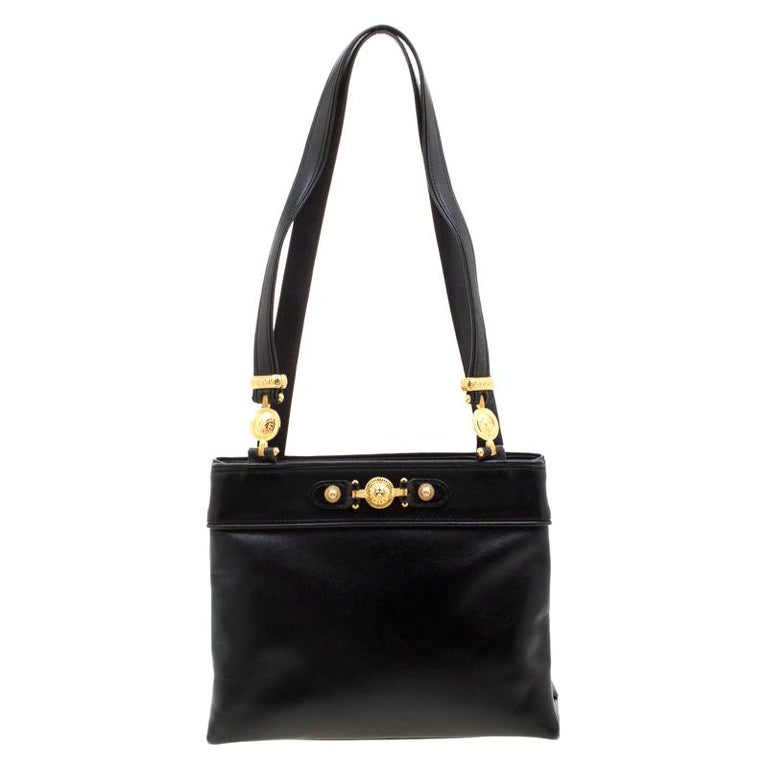 Versace Black Leather Shoulder Bag For Sale