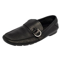 Versace Black Leather Slip On Loafers Size 43.5