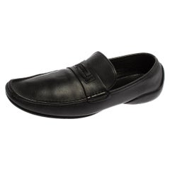 Versace Black Leather Slip On Loafers Size 44