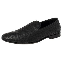 Versace Black Leather Smoking Slippers Size 42