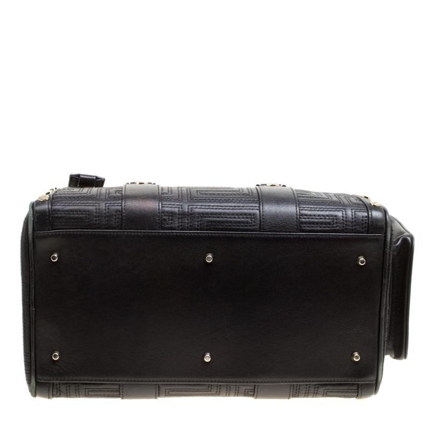 4bd13a3b8b Versace Black Leather Snap Out Of It Satchel For Sale at 1stdibs