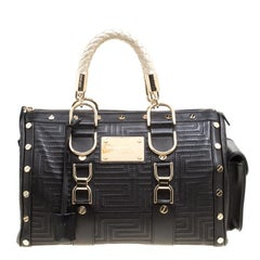 Versace Black Leather Snap Out Of It Satchel