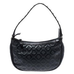 Versace Black Leather Studded Handle Pochette