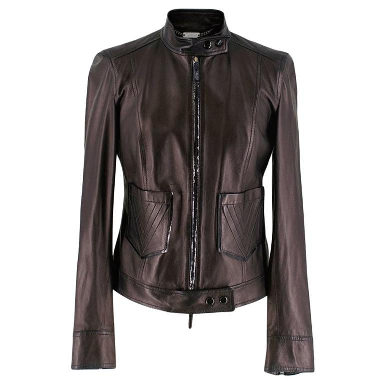 Versace Black Lightweight Leather Jacket - Size US 4