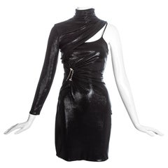 Versace black liquid jersey one sleeve dress with metal bolts, fw 2013