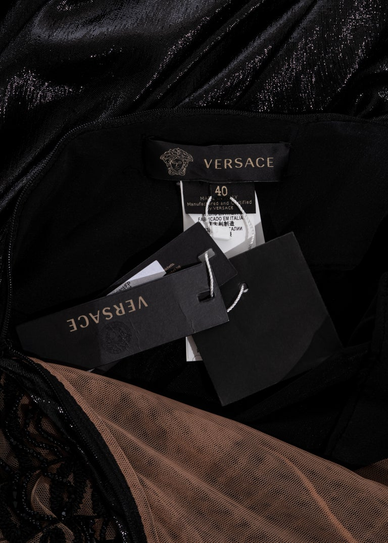 Versace black lurex beaded one-sleeve trained evening dress, fw 2013 For Sale 6