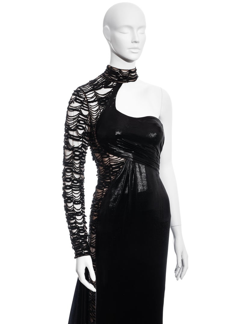 Black Versace black lurex beaded one-sleeve trained evening dress, fw 2013 For Sale