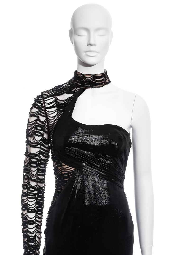 Women's Versace black lurex beaded one-sleeve trained evening dress, fw 2013 For Sale