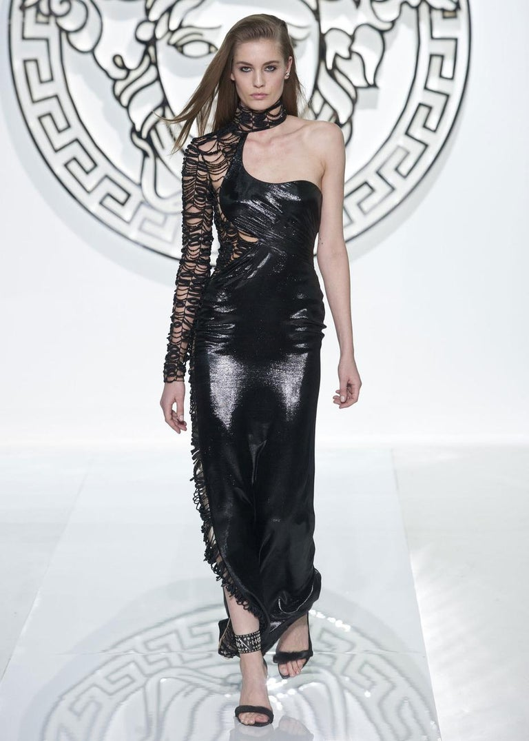 Versace black lurex beaded one-sleeve trained evening dress, fw 2013 For Sale 1