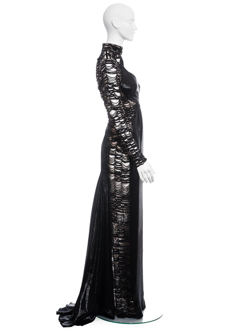 Versace black lurex beaded one-sleeve trained evening dress, fw 2013 For Sale 2