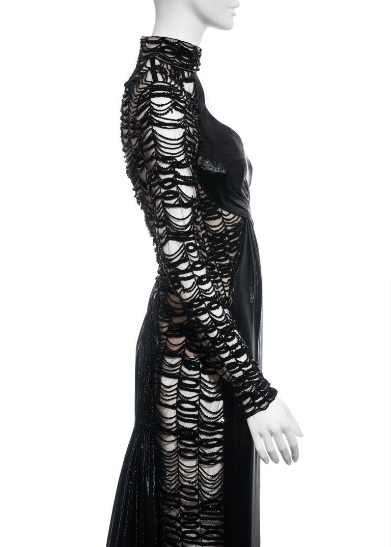 Versace black lurex beaded one-sleeve trained evening dress, fw 2013 For Sale 3