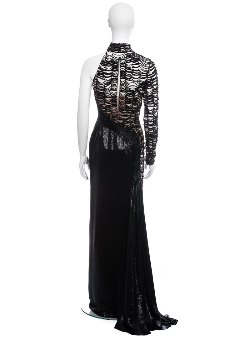 Versace black lurex beaded one-sleeve trained evening dress, fw 2013 For Sale 4