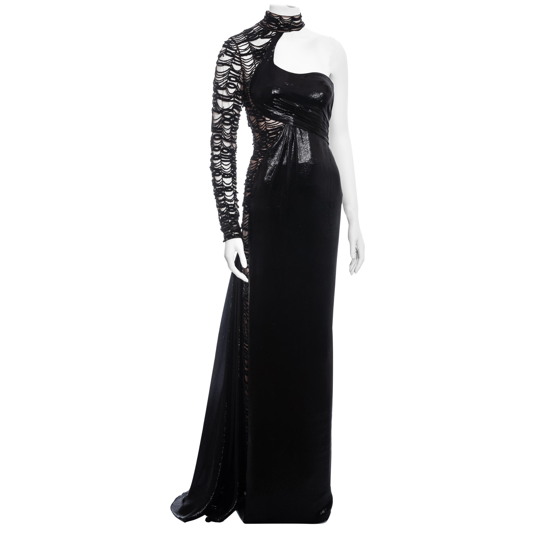 Versace black lurex beaded one-sleeve trained evening dress, fw 2013