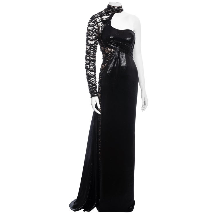 Versace black lurex beaded one-sleeve trained evening dress, fw 2013 For Sale