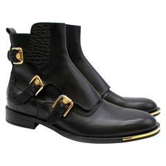 Versace Black Medusa Harness Leather Ankle Boots	SIZE 40