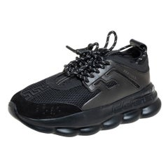 Versace Black Mesh And Leather Chain Reaction Sneakers Size 45
