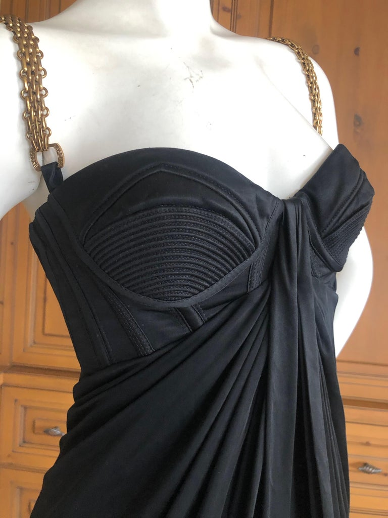 Versace Black Mini Dress with Metal Chain Straps Spring 2007 For Sale 4