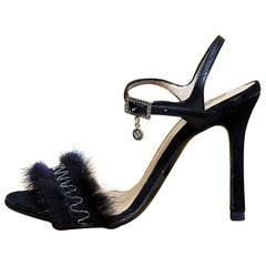 VERSACE BLACK MINK FUR SHOES sandals