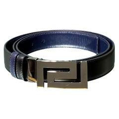 VERSACE BLACK & NAVY BLUE REVERSIBLE LEATHER MEN'S Belt 115/46