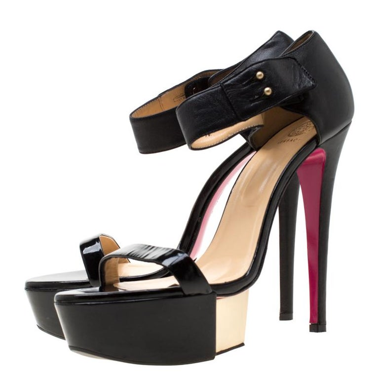 Women's Versace Black Patent Leather And Leather Ankle Strap Platform Sandals Size 40