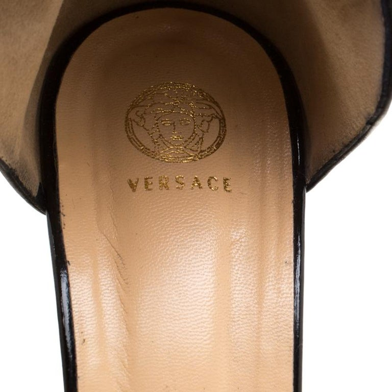 Versace Black Patent Leather And Leather Ankle Strap Platform Sandals Size 40 2