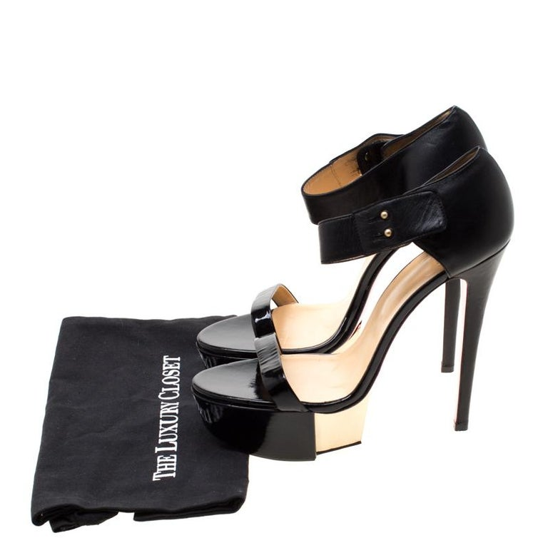 Versace Black Patent Leather And Leather Ankle Strap Platform Sandals Size 40 3